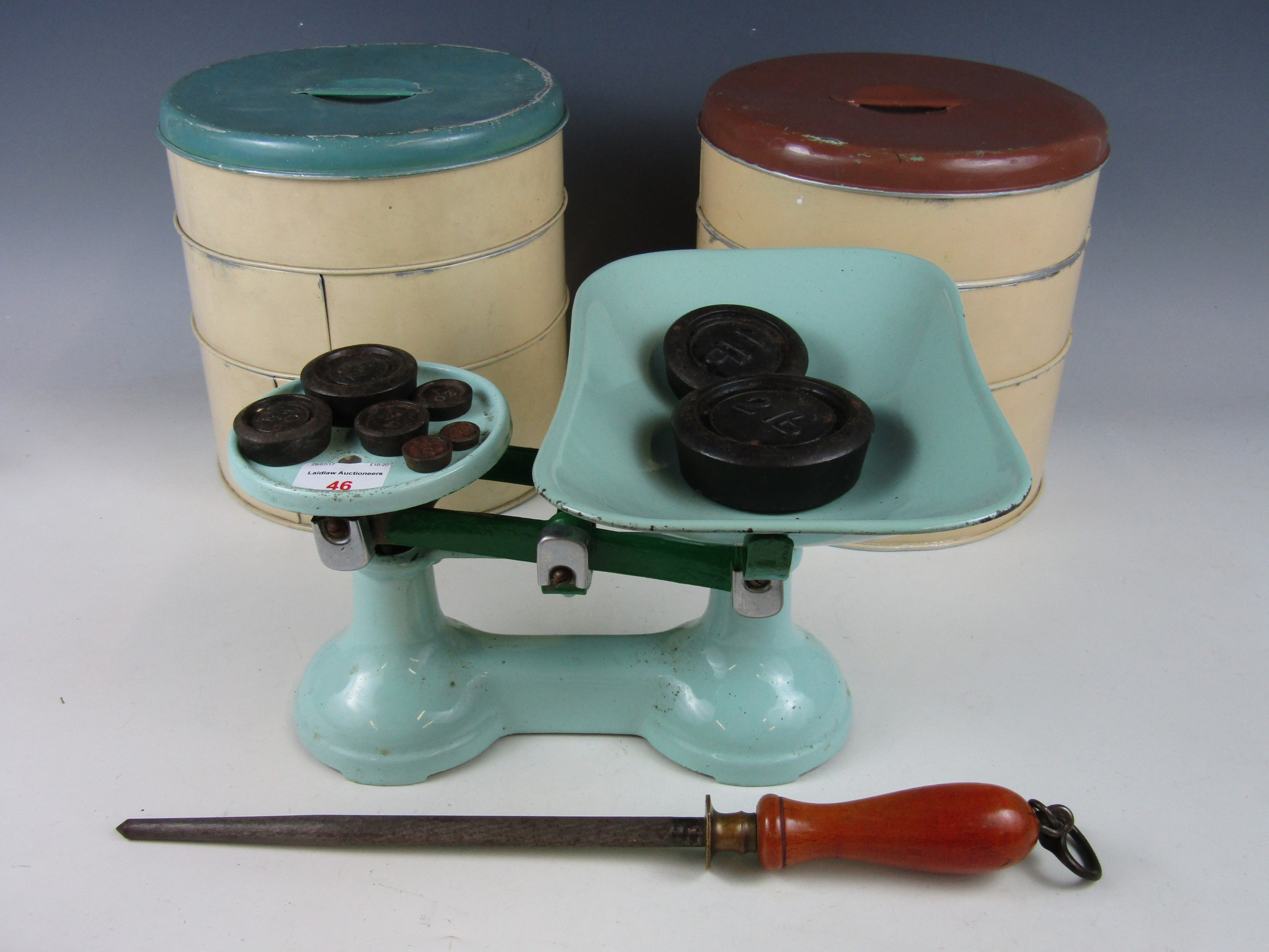 Lot 46 - Two vintage Tala Ware three tier cake tins, together with a set of vintage scales and weights and