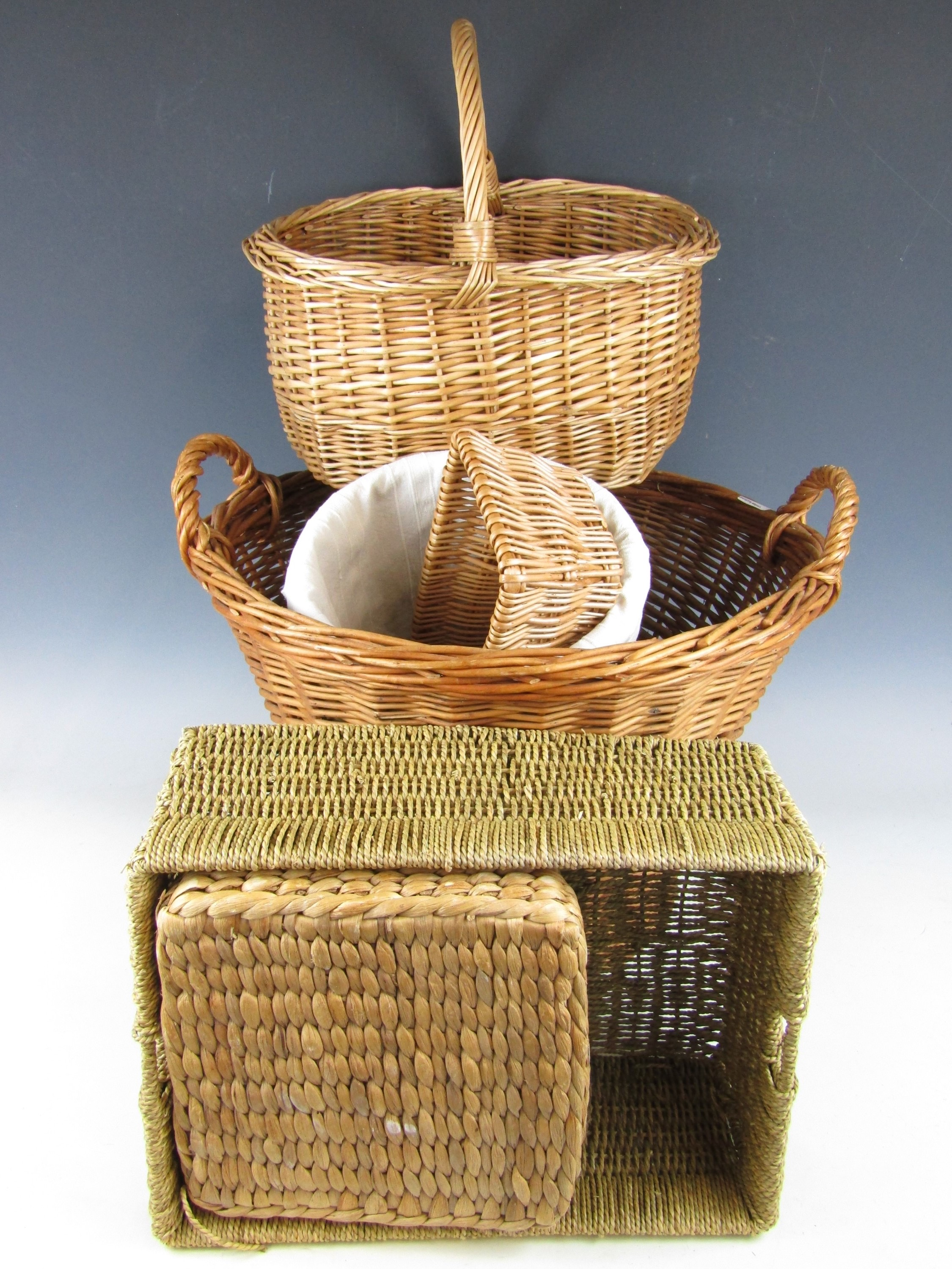 Lot 8 - A large wicker basket and others