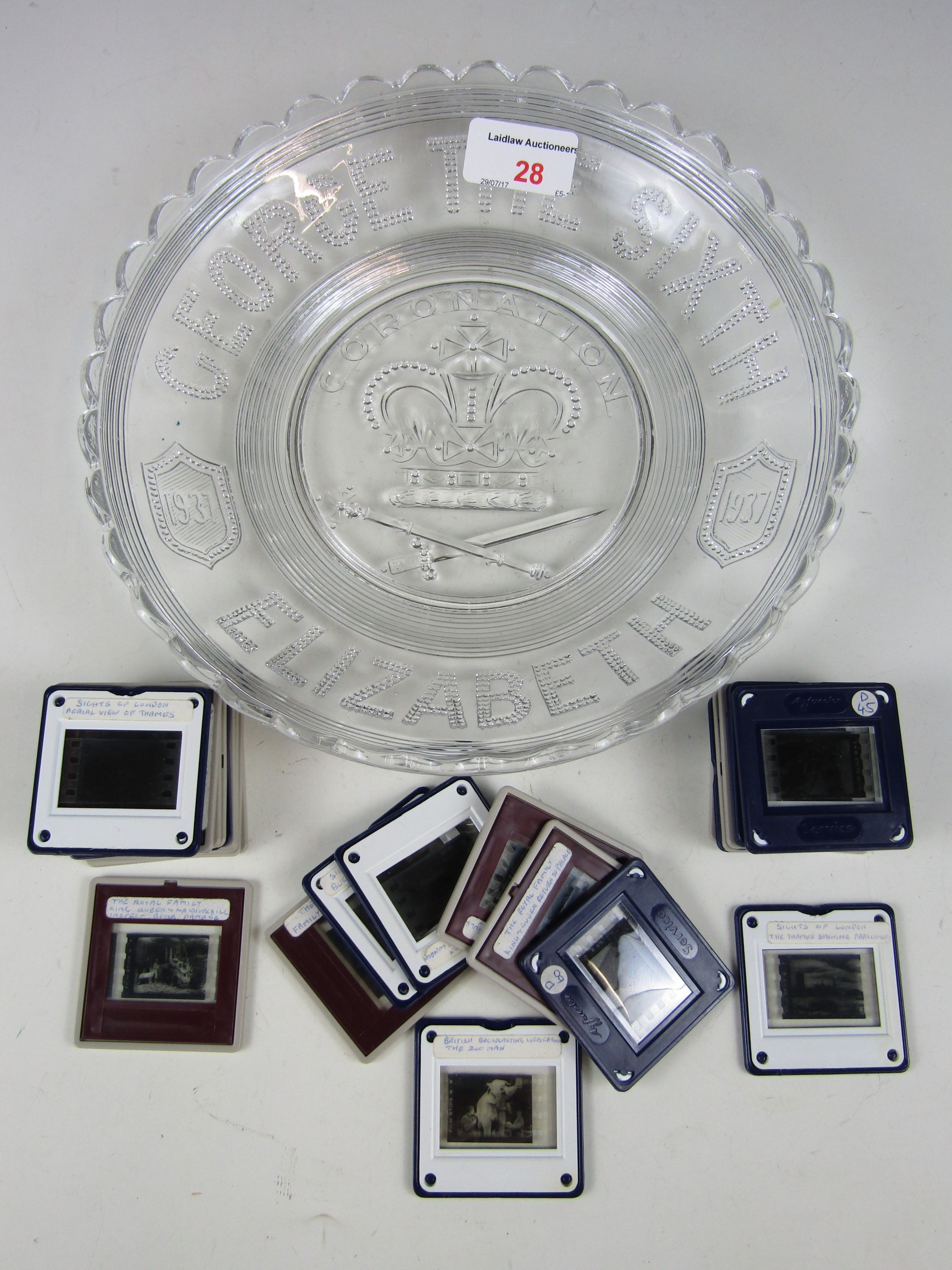 Lot 28 - A George VI Coronation plate together with commemorative slides etc