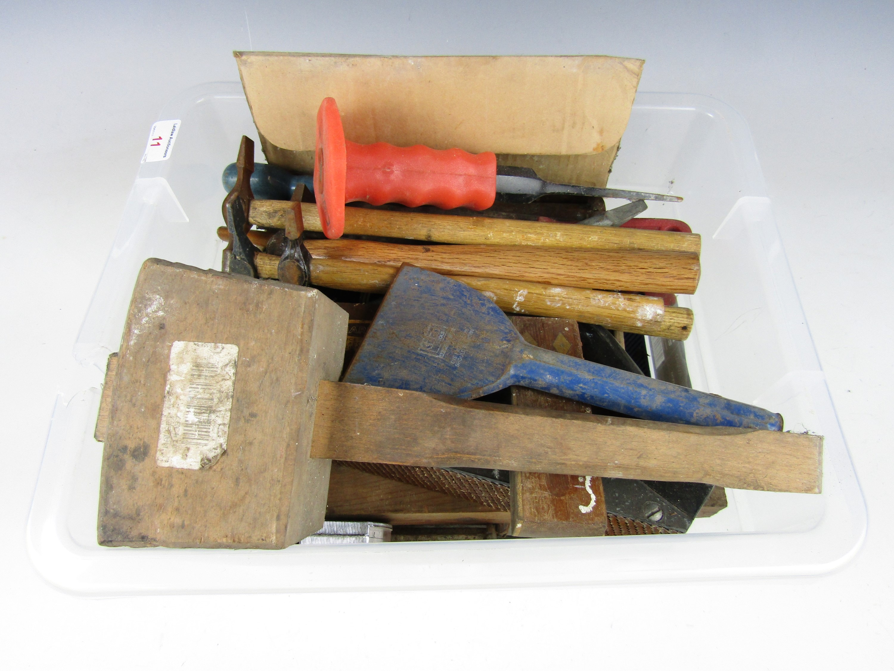 Lot 11 - Sundry tools including hammers, bolster, chisels etc