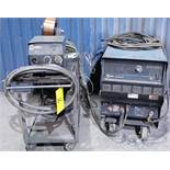 MILLER DELTAWELD 452 WELDER, S/N MC0706614 W/ MILLER 22A WIRE FEEDER, CABLES & CART