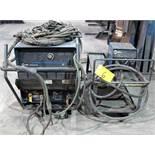 MILLER DELTAWELD 452 WELDER, S/N MC0706594 W/ MILLER 22A WIRE FEEDER, CABLES & CART