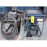 MILLER XMT 350 CC/CW WELDER, S/N LF096946 W/ MILLER 22A WIRE FEEDER, CABLES & CART