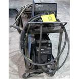 MILLER XMT 350 CC/CW WELDER, S/N LH160462A W/ MILLER 22A WIRE FEEDER, CABLES & CART