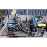 MILLER XMT 350 CC/CW WELDER (NEEDS REPAIR), S/N LH020266A W/ MILLER 22A WIRE FEEDER, CABLES & CART