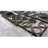 LOT OF (3) PALLETS OF WELDING CABLES, MIG WELDER GUN, GROUNDING CABLES, EXTENSION CABLES