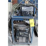 MILLER XMT 350 CC/CW WELDER, S/N LF470022A W/ MILLER 22A WIRE FEEDER, CABLES & CART