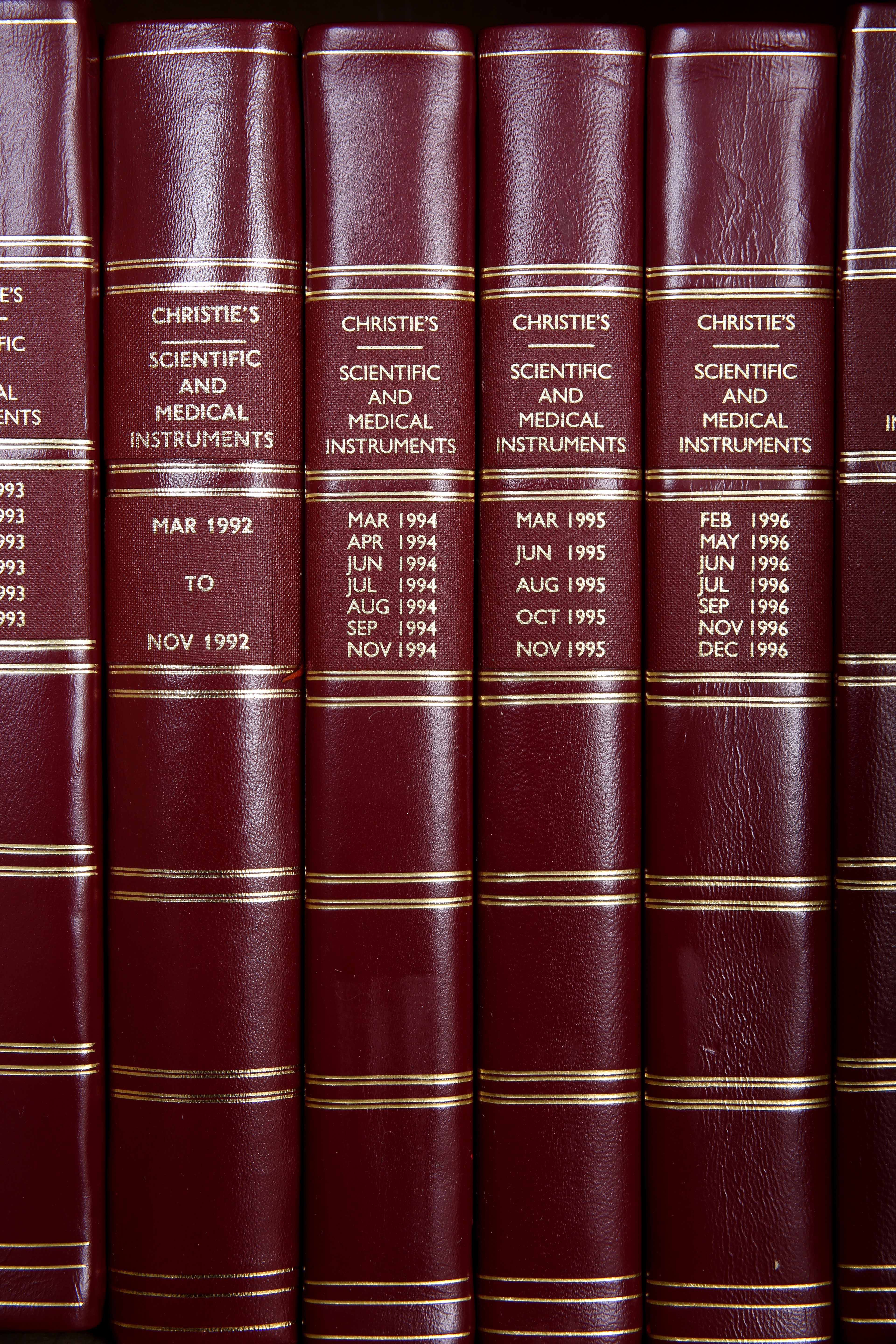 Lot 362 - EIGHTEEN BOUND VOLUMES of Christies auction catalogues covering scientific and medical instruments