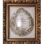 Hochzeitskranz, dat. 1916Versilberter Brautkranz mit Inschrift und Datierung. Floraler
