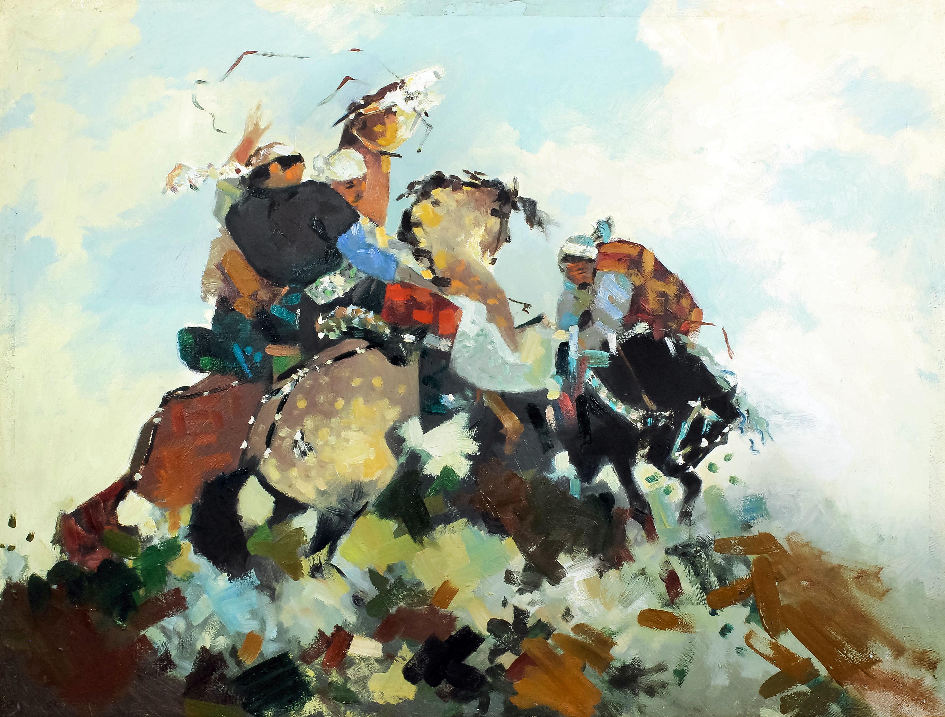 20th Century Kazakhstan school - Oil painting - A nomadic
