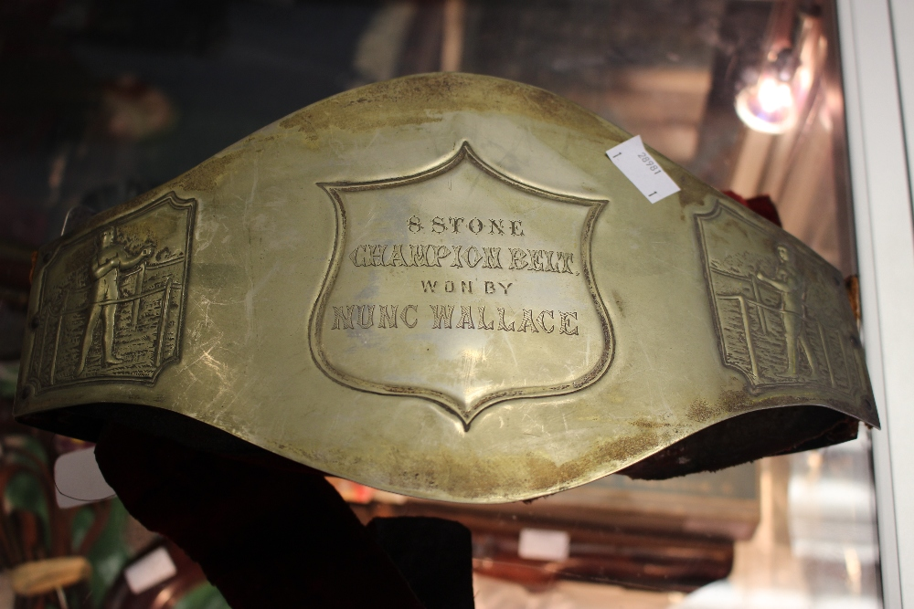Lot 3255 - A 19th century boxing belt, circa 1887 -1892, 8 Stone Champion Belt won by Nunc Wallace,