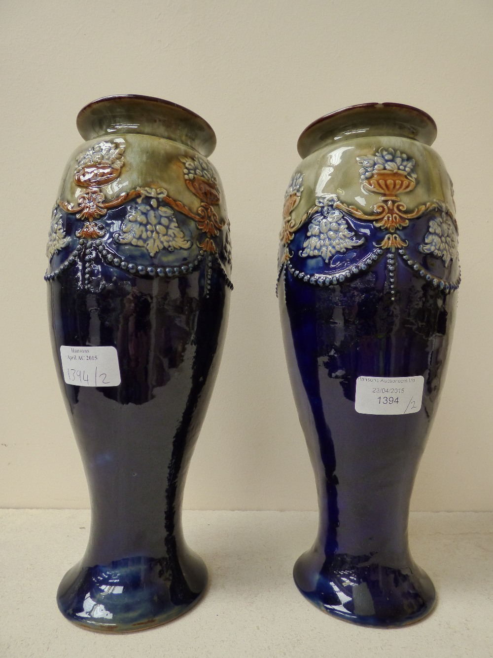 A pair of royal doulton stoneware vases circa 1900 inverse lot 1394 a pair of royal doulton stoneware vases circa 1900 inverse baluster reviewsmspy