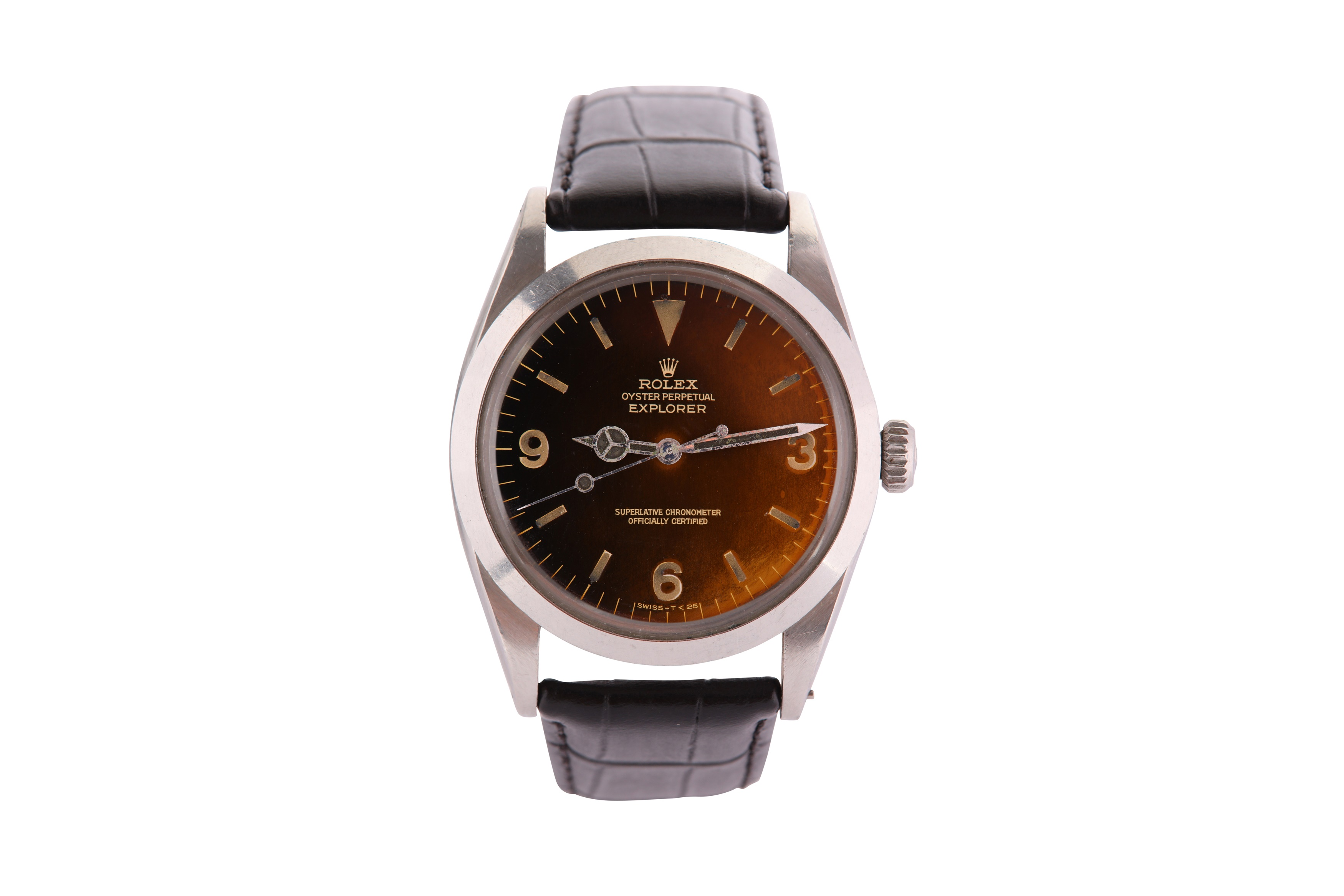 A RARE AND ATTRACTIVE MEN'S ROLEX STAINLESS STEEL AUTOMATIC WRISTWATCH