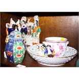 A Herend porcelain basket, a similar cachepot and a 19th century Staffordshire hunters watch