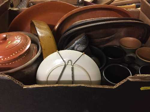 Lot 54 - Three boxes of Danish pottery, cooking dishes, lidded pots,