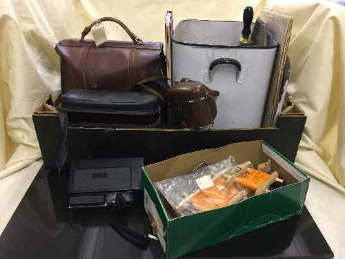 Lot 40 - A box of cine camera, bowls in bag, enamelled bread bin, fishing equipment,