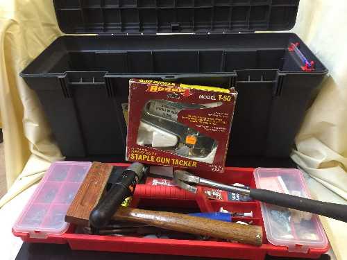 Lot 37 - Garden tools, hedge trimmer, plastic tool box,