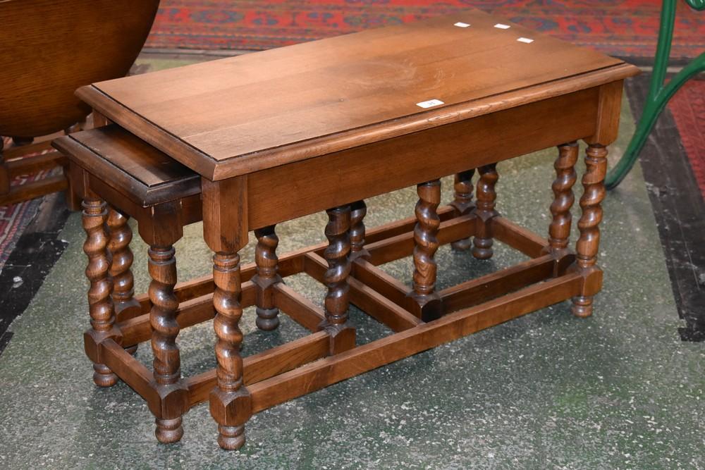An Oak Nested Barley Twist Coffee Table 46cm High X 80cm Long X 40cm Wide