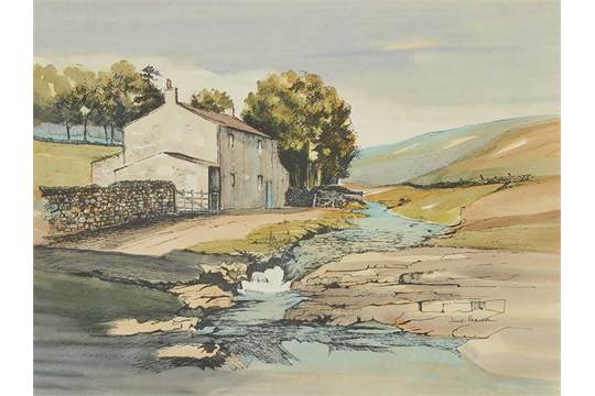 Jane Pearson - FARM BUILDINGS BY A RIVER - Pen & Ink Drawing