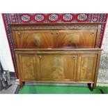 Edwardian mahogany double bed frame, 140cms wide x 193cms long. Estimate £30-50.