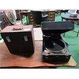 Decca wind-up gramophone c/w handle, plus a case containing some 78rpm records. Estimate £50-80.