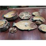 A qty of Crown Devon novelty piscatorial tableware, approx. 33 pieces. Estimate £80-120.