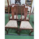 4 mahogany high back drop-in seat shaped splat backed dining chairs. Estimate £20-40.