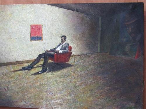 Lot 210 - Skampardonis, N - large oil on canvas 'Stergios', 2015, 140 x 230. Estimate £600-800.