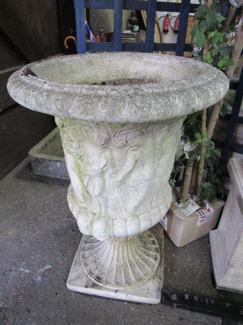 Lot 189 - Pair of large garden urns, 63cms x height 95cms. Estimate £200-300.