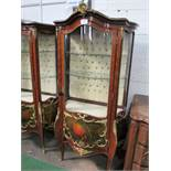 Ornate Bombe French style display cabinet with ormolu mounts & painted panels to base, 2 interior