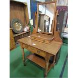 Satin wood dressing table with frieze drawer & drawer beneath mirror, 92cms x 50cms x 155.