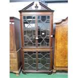 Large Edwardian mahogany corner display cabinet with glass panel doors & shaped shelves & broken