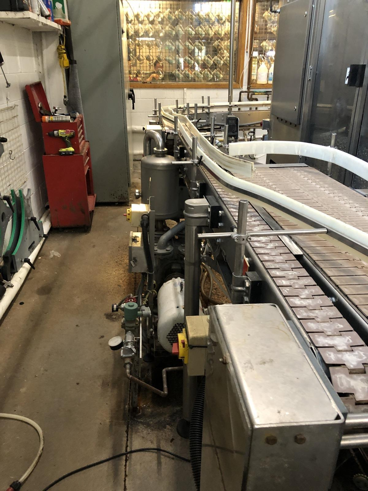 Lot 53 - Approx 22ft Bottle Conveyor, Floor Mounted, (2) 90 Deg | Sub to Bulk | Rig Fee: $250