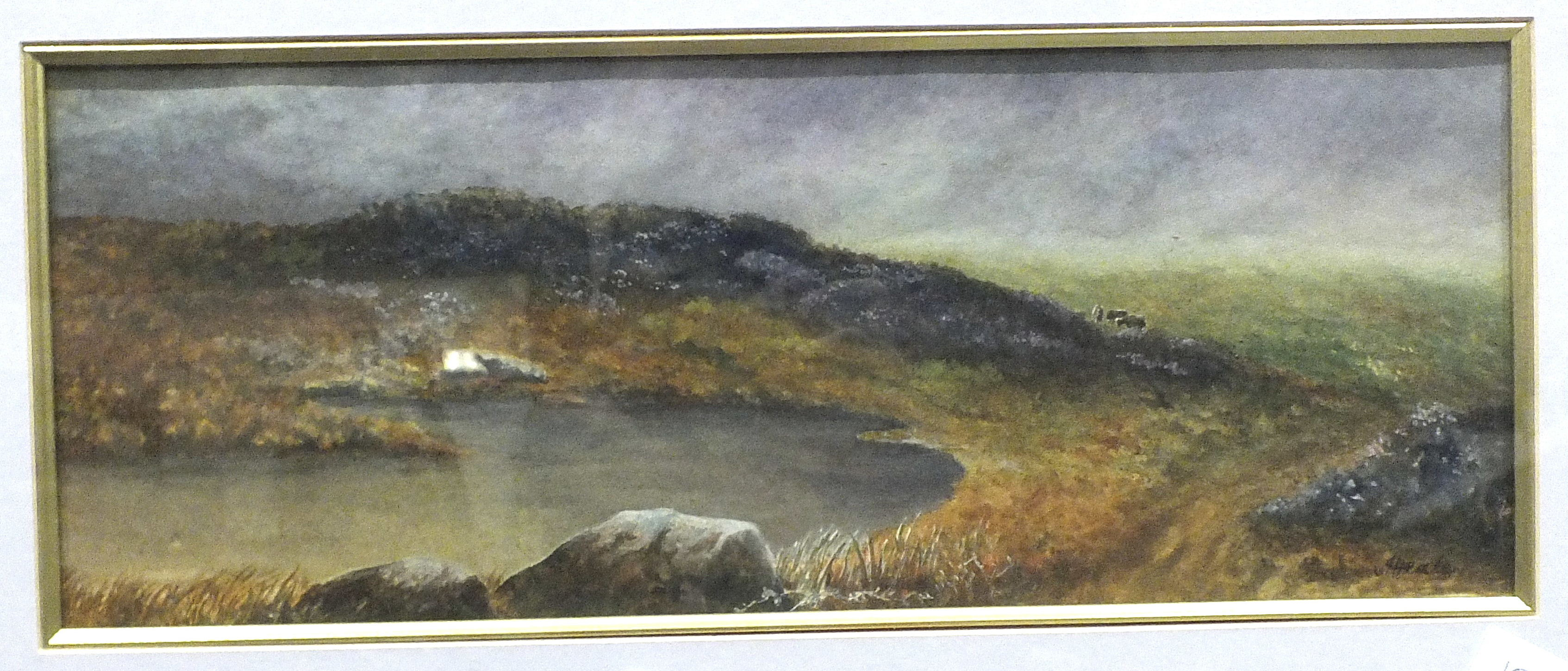 Lot 36 - Heale, 'Moorland Scene', watercolour, signed, 16 x 40cm and other pictures.