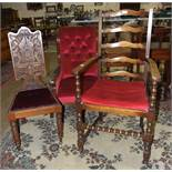 A Victorian walnut low salon chair with button back, on short turned front legs, an oak armchair and