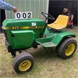 John Deer 317 Garden Tractor, Front Hydraulics, Mower & Tiller