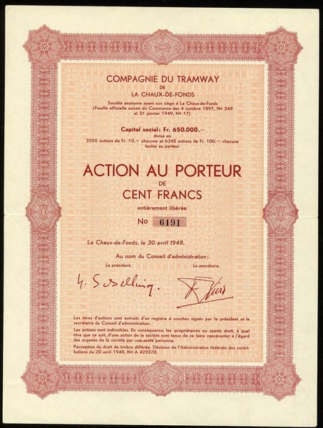 Lot 1006 - Compagnie du Tramway de la Chaux-de-Fonds, Action au Porteur Fr. 100, La Chaux-de-Fonds, 30 avril 1
