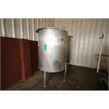 "Aprox. 450 Gal. S/S Vertical Single Wall Hinged Lid S/S CIP Tank, Aprox. Dimensions 60"" H x 48"" W ("
