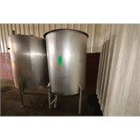 "Aprox. 500 Gal. S/S Vertical Single Wall Hinged Lid S/S CIP Tank, Aprox. Dimensions 60"" H x 50"" W ("