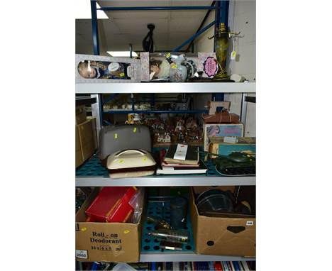 THREE BOXES AND LOOSE SUNDRY ITEMS to include four stamp albums (Stanley Gibbons), pictures, Hornby accessories, glass ships