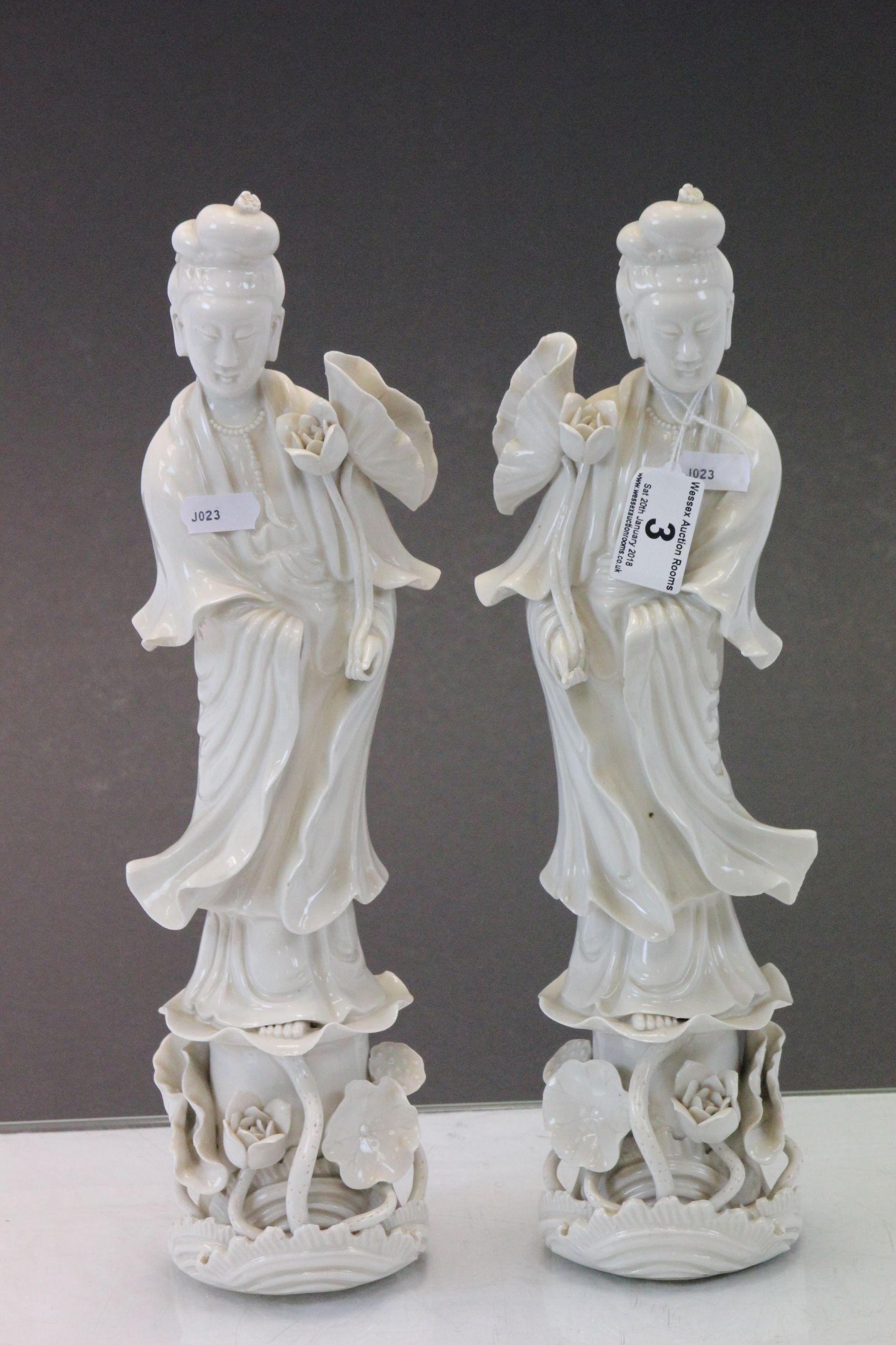 Lot 3 - Pair of Oriental Blanc de Chine figures, possibly Guan Yin