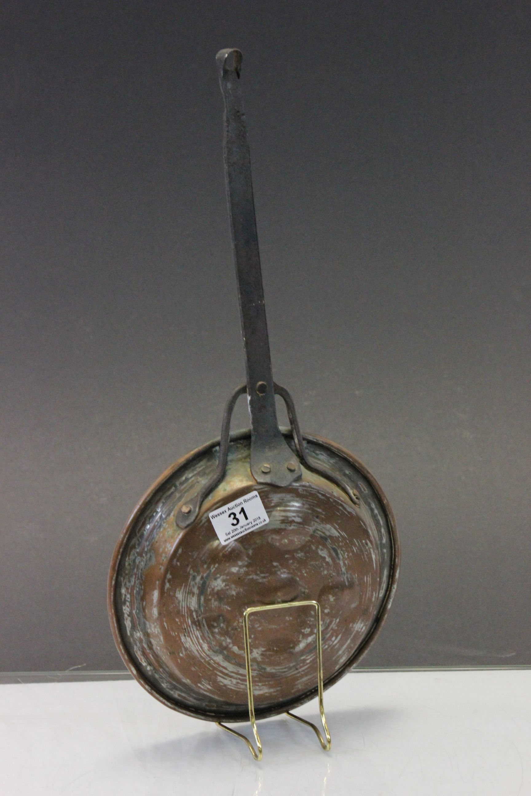 Lot 31 - Copper Escargot Pan with Iron Hanging handle