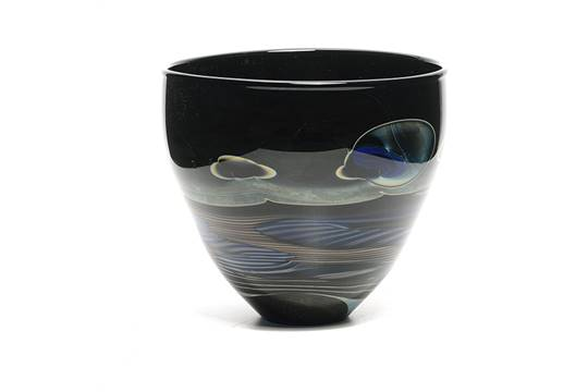 John Lewis Moonscape Glass Vase Signed On Base Height 6 12 Inches