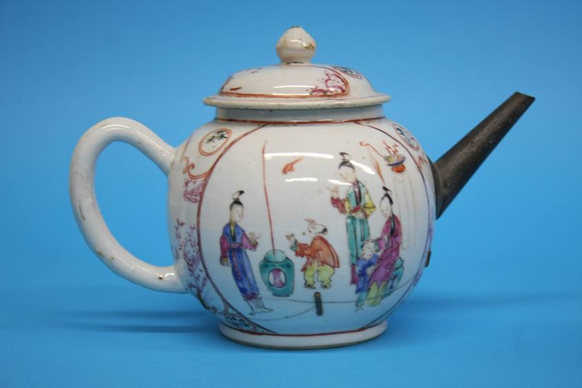 Lot 6 - A Canton Chinese enamel decorated teapot and another Chinese teapot (2)