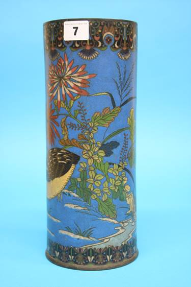 Lot 7 - A Japanese Cloisonné enamelled vase on a blue ground decorated with birds, 31cm height, 12cm