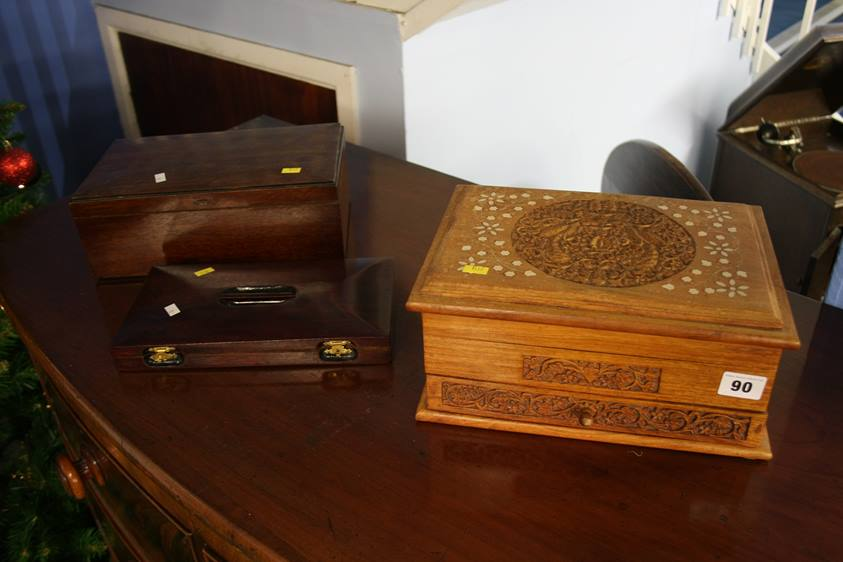 Lot 90 - Carved Camphor wood jewellery box and two others