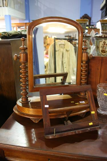 Lot 77 - A walnut toilet mirror and a bookstand