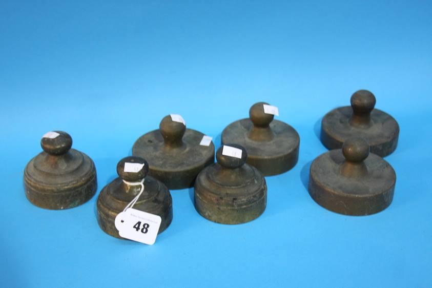 Lot 48 - Seven brass Draftsman's weights