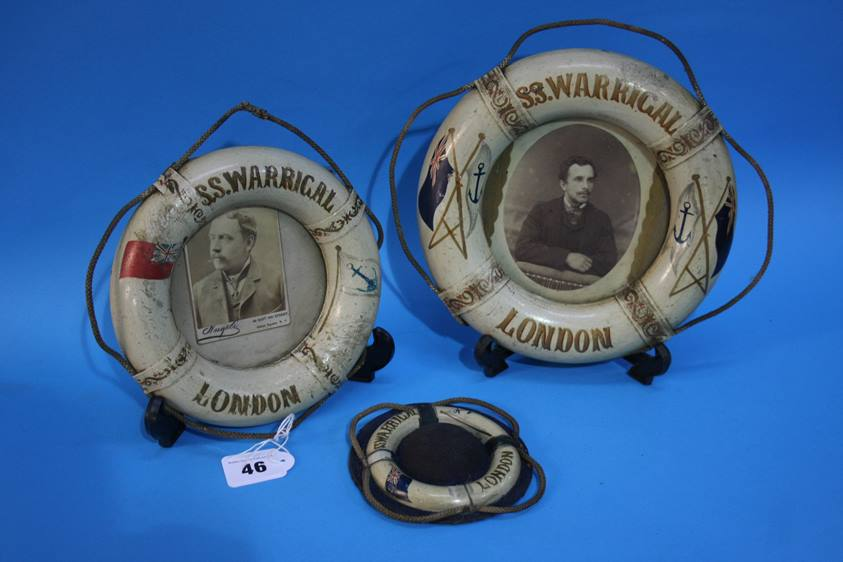 Lot 46 - Two frames modelled as Life Belts from the 'S.S. Warrigal London' and a similar pin cushion