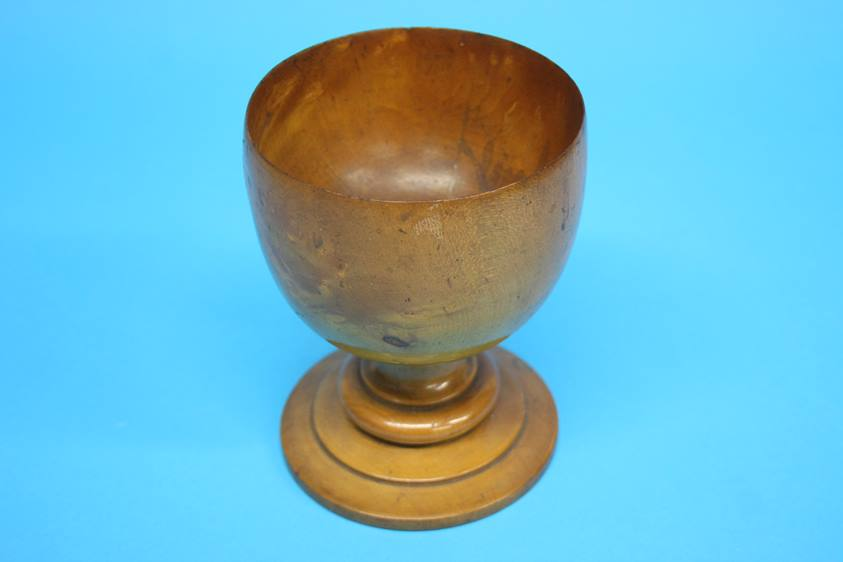 Lot 11 - A Pear wood turned treen goblet, 16cm height, 12cm diameter